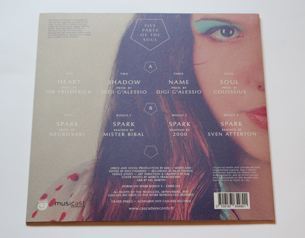 Kae - Five parts of the soul -chill soul electronic music vinyl back cover