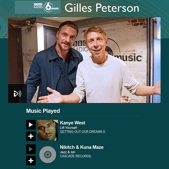 Nikitch & Kuna Maze played in the latest Gilles Peterson show on BBC 6 music